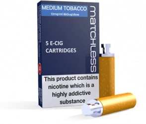 Matchless Medium Tobacco E-Cig Cartridges - 5 Replacements in a carton